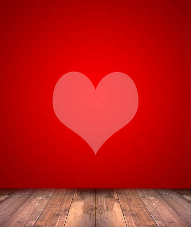 Pink heart on abstract red background with wood floor photo