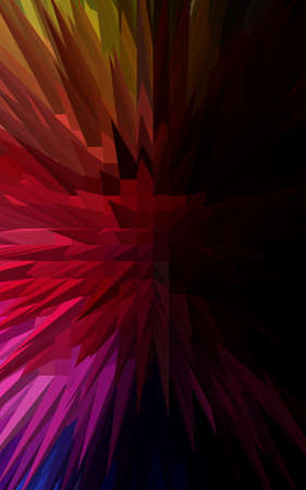 3d rainbow: 3D Rainbow spiky pyramid abstract background