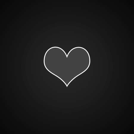 Black and white Heart on Dark grey with Black vignette Studio well use as background.