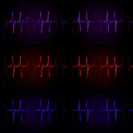 electrocardiograph: Cardiac Frequency in dark tone Color Collection