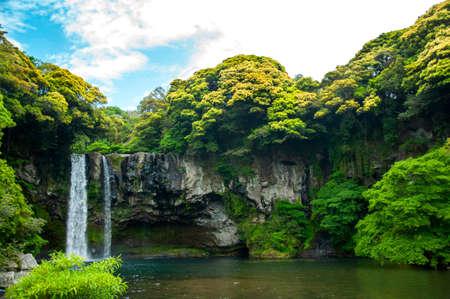천지연 폭포는 한국의 제주도에있는 폭포입니다. 천지연이라는 이름은 하늘을 의미합니다. 이 그림은 장소 홍보에 사용될 수 있습니다.