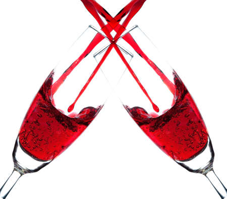 double glass: Double red wine double pouring into champagne glass