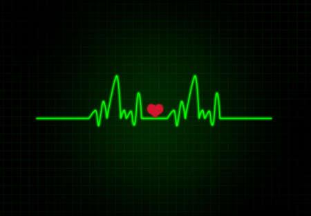 heart ecg trace: Cardiac Frequency with heart shape.