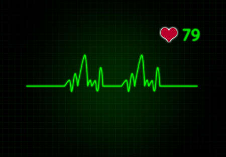 electrocardiograph: Cardiac Frequency with heart shape.