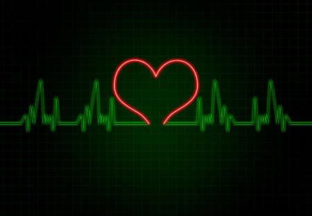 cardiac: Cardiac Frequency in Green Colour with heart shape.