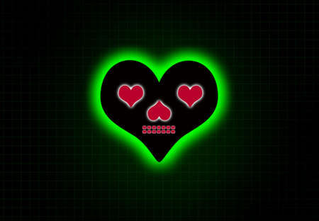 heart monitor: skull in love on heart beat monitor.