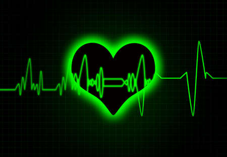 pulsating: Cardiac heart beat monitor. Stock Photo