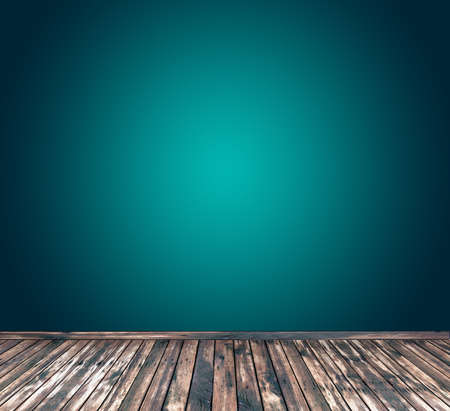 wooden floor: Smooth Turquoise with wooden floor Stock Photo