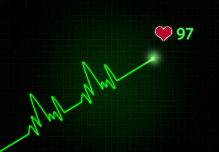 heart ecg trace: Cardiac Frequency with heart shape.