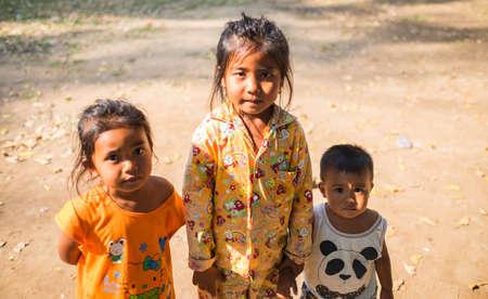 CAMBODIA - FEBUARY 18,2017 : Children in Cambodia begging for money on the roadside in cambodia