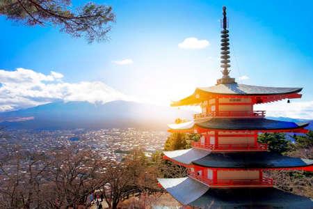 sengen: Mt. Fuji with red pagoda in winter, Fujiyoshida, Japan Stock Photo