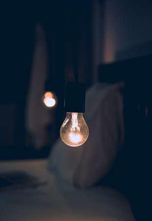 Vitange retro light in Dark blur Bed room