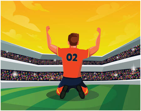 Celebration and Winning Concept: Rear View of Soccer Player in stadium showing hand up. Light, stands, fans. Vector Illustration.