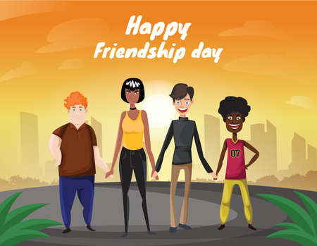 Group of four happy diverse friends walking with city and sunrise background. Happy friendship day. Illustration