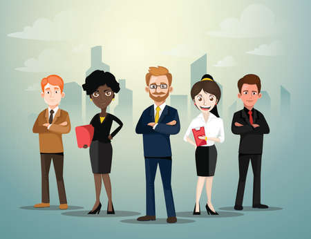 Group of Business People Standing in Front of City Background Mix Ethnic.Vector Illustration.