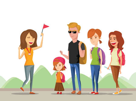 Tour vacation with guide, vector cartoon comic illustration isolated on a mountain background, a group of tourists listening to the history destination