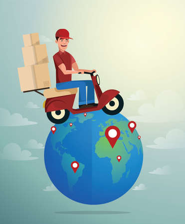 World Wide Delivery. Vector illustration of Delivery man and a world globe with delivery pin point Ilustração