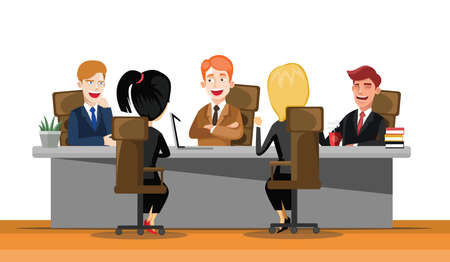 Business man meeting at a big conference desk. Startup company. People working together. Modern colorful flat style vector illustration isolated on white background. Ilustração