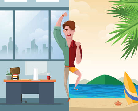 Handsome man happy going to work while the other one going on a vacation concept. Character vector illustration.