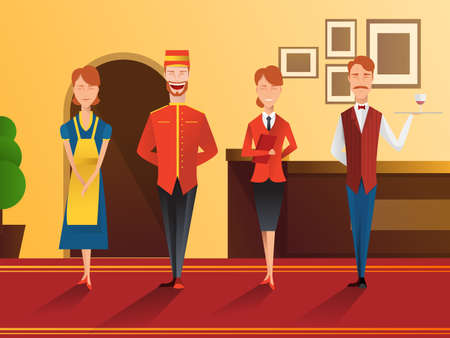 Character of smiling hotel staff flat gradient composition with receptionist, waiter, doorman and maid vector illustration.