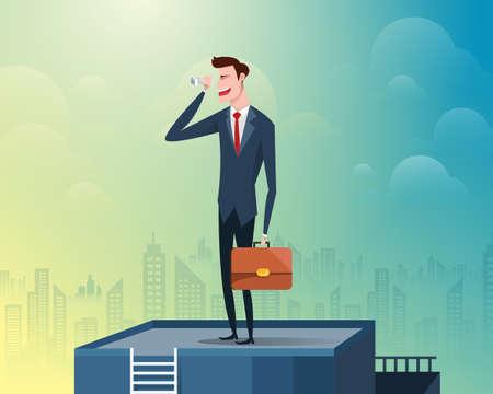 Homme d'affaires debout au sommet du bâtiment tenant des jumelles, l'arrière-plan est une grande ville remplie de gratte-ciel. Illustration vectorielle