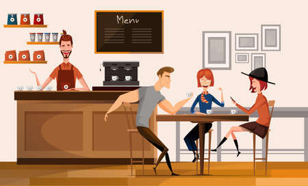 People in modern coffee shop or cafe in Center University Campus Modern Workplace Interior Flat Vector Illustration Stock Illustratie