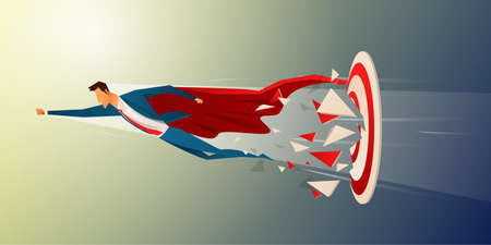 Business superhero rushing on the arrow to the target, business concept goal and success