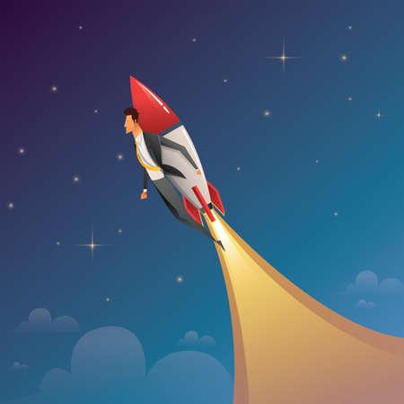 Startup Business. Businessman on a rocket. Flat design business concept illustration Ilustração Vetorial