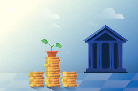 Vector flat illustration, bank building on a white background, bank financing, money exchange, financial services, ATM, giving out money. Ilustrace