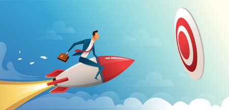 Uomo d'affari che vola in avanti con un motore a razzo verso un grande obiettivo. Illustrazione di concetto di vettore di affari