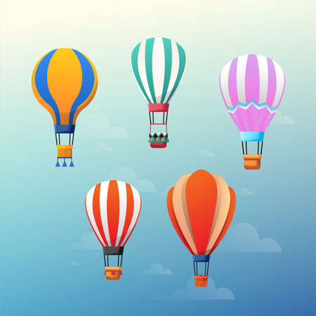 Vector illustration of colorful hot air balloons on the blue sky.