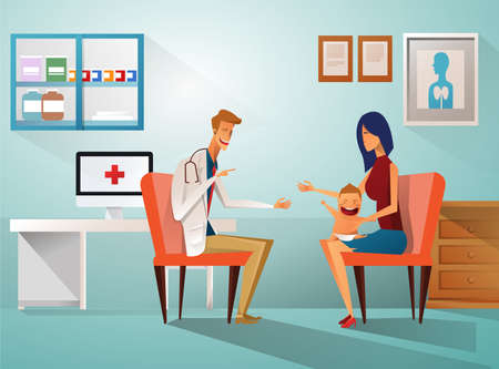 Mom and Boy to see Doctor sitting at the table in hospital, infirmary, clinic.healthcare concept.Character professional physician on workplace illustration.Mother and her son with doctor