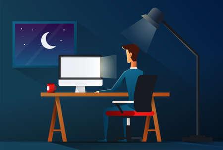 Business man working late night. workload concept - vector illustration. Vector Illustratie