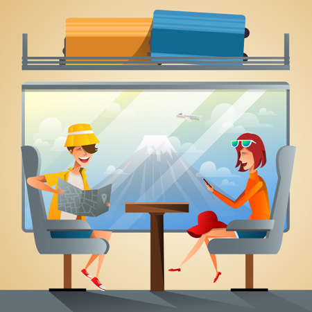 Couple tourists traveling by train together. School students group going on summer holiday road trip with Fuji Mountain background. Flat style vector illustration