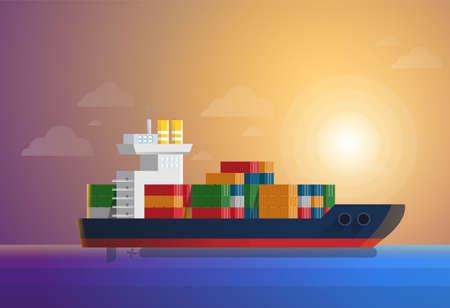Cargo porte-conteneurs transporte des conteneurs à l'océan bleu. Illustration vectorielle de style plat et couleur unie.