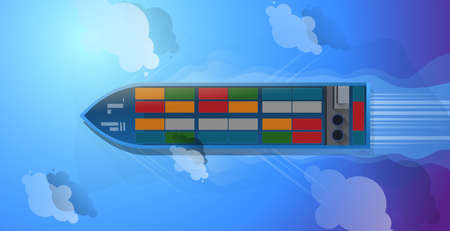 Container ship. Aerial top view. Cargo to harbor. Vector illustration flat design.