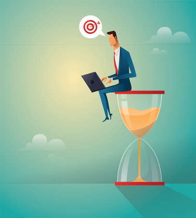 Businessman sitting on the hourglass with laptop and target icon. Business concept of time management and procrastination. Vector illustration