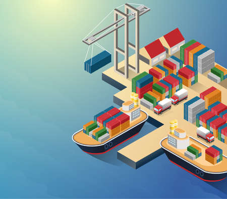 Aerial view of harbor waterfront and maritime terminal with container ship loading isometric poster abstract vector illustration.