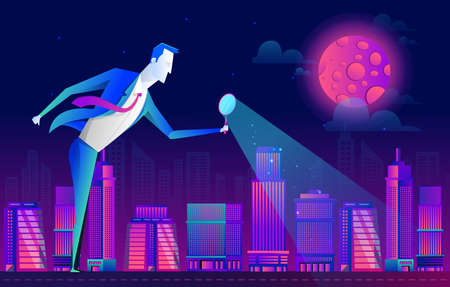 a man in a business suit looks at the people and city through a magnifying glass, vector flat design