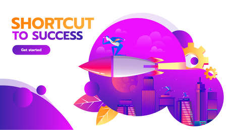 Business competition concept. Businessman flying forward with a rocket engine racing to success on business. Vector concept illustration with flat style