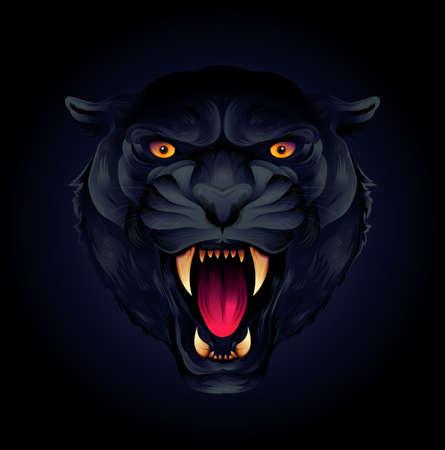 Portret głowy tygrysa lub czarnej pantery na czarnym tle