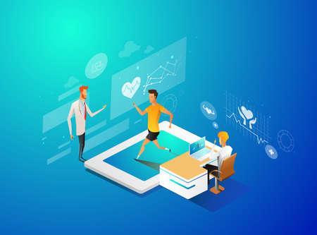 アイソメトリックスマートヘルスと医療3Dデザインイラスト - デジタルモルニタ画面を通してあなたの健康状態を追跡 ベクターイラストレーション
