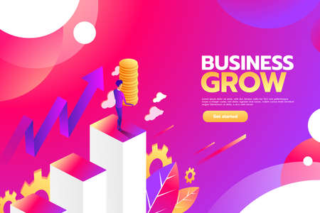 Businessman looking for investment opportunity standing on money growth graph. Profit Stock Market. Investor business concept. Vector flat cartoon illustration flat design.