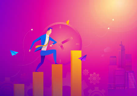 Business Concept As A Businessman Is Running On Growth Line Graph. He Is Enjoying The New Growth Of Opportunity With Full Motivation and Encouragement. Higher Sales Corresponds With Time Passes By
