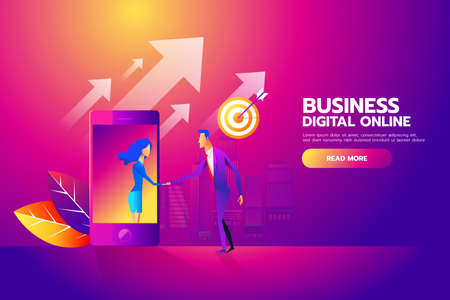 Flat design isometric vector concept with man and woman shaking hands through mobile screen for business mobile network connections, e-mail marketing, people chatting. Illustration