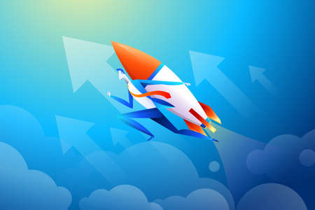 Businessman flying on rocket, graph that shows increase in sales, vector illustration in flat design.