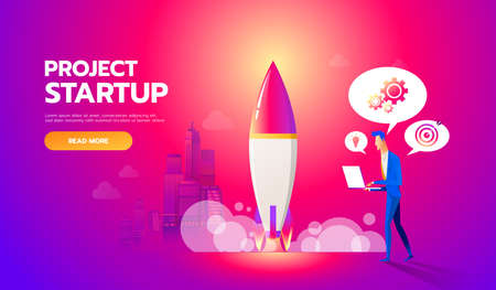 Businessman launches rocket into the sky. Business startup concept vector flat illustration. Employee oversees the takeoff of a spaceship