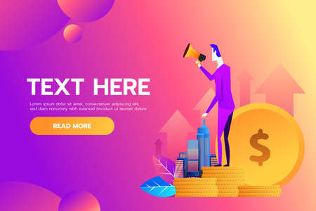 Vector illustration, flat style, business promotion, advertising, call through the horn