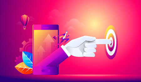 Isometric people person, startup start, hand presses start button, take off young businessmen, development and business start up, business concept Stock fotó