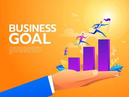 Platte zakenmensen die de trap oplopen. Carrièreladder met karakters. Teamwerk, partnerschap, leiderschapsconcept. vector illustratie